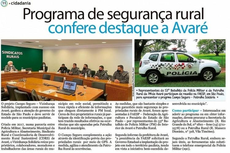 Ações de Avaré sobre sustentabilidade e segurança no campo são destaque na região