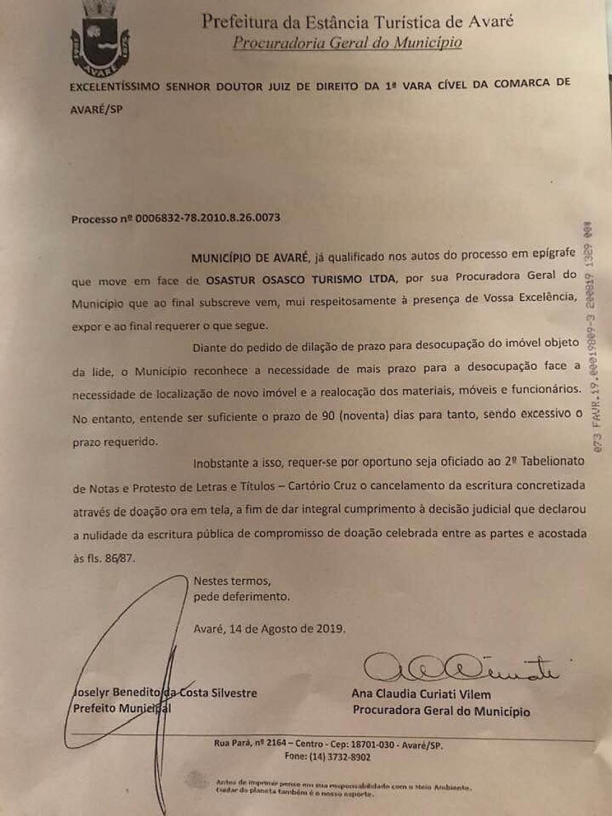 Procuradoria solicita cancelamento de escritura da Osastur