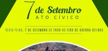 Ato Cívico de 7 de Setembro acontece nesta sexta-feira