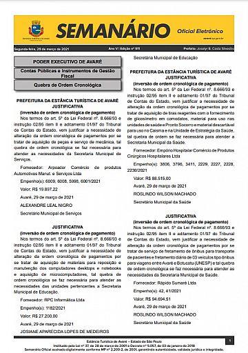 Semanário Oficial - Ed. 911