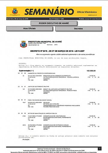 Semanário Oficial - Ed. 296