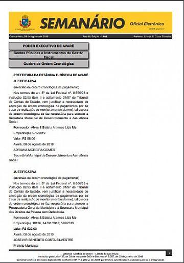 Semanário Oficial - Ed. 401