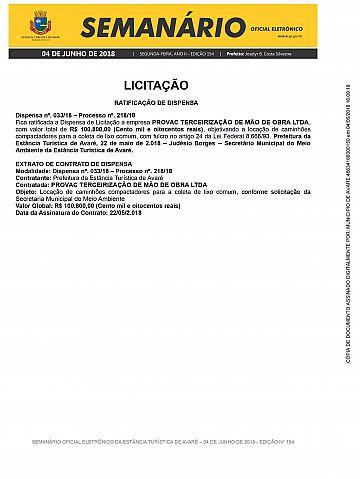 Semanário Oficial - Ed. 154