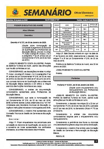 Semanário Oficial - Ed. 547