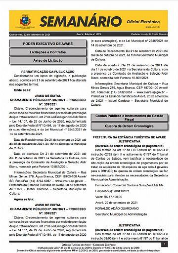 Semanário Oficial - Ed. 1073