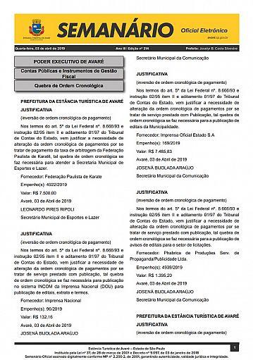 Semanário Oficial - Ed. 314
