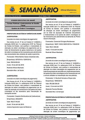 Semanário Oficial - Ed. 320