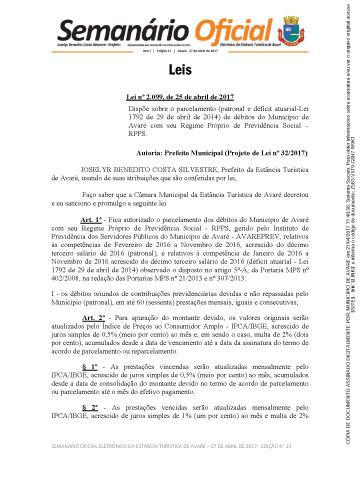 Semanário Oficial - Ed. 21