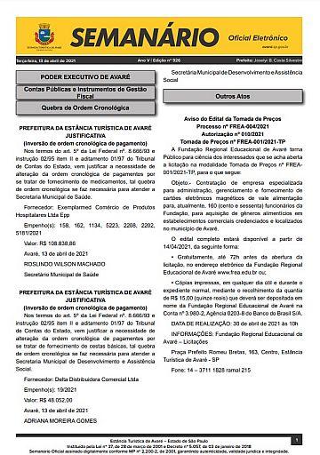 Semanário Oficial - Ed. 926