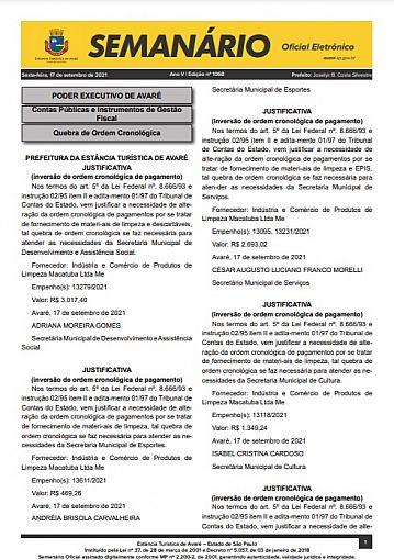 Semanário Oficial - Ed. 1068