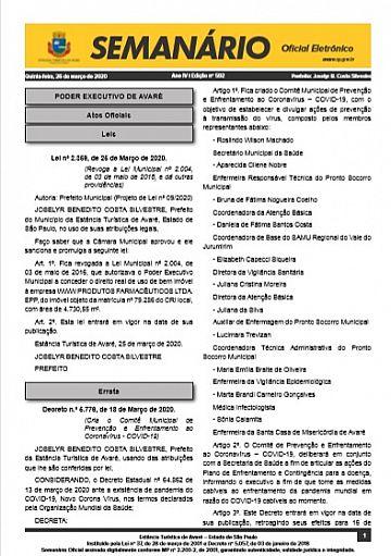 Semanário Oficial - Ed. 592