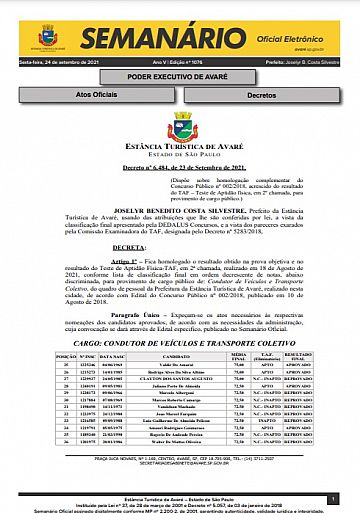 Semanário Oficial - Ed. 1076