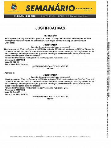 Semanário Oficial - Ed. 172