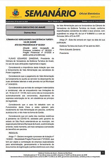 Semanário Oficial - Ed. 920