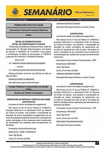 Semanário Oficial - Ed. 637
