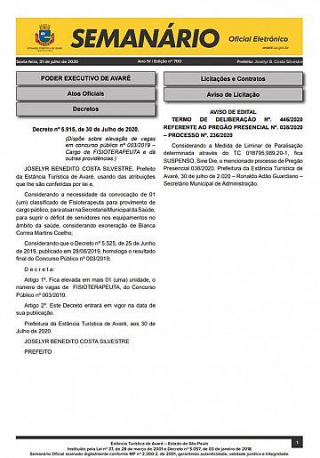 Semanário Oficial - Ed. 700