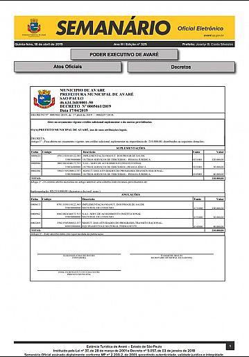 Semanário Oficial - Ed. 325