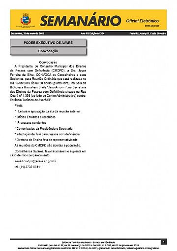 Semanário Oficial - Ed. 354