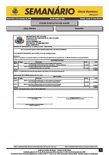 Semanário Oficial - Ed. 434