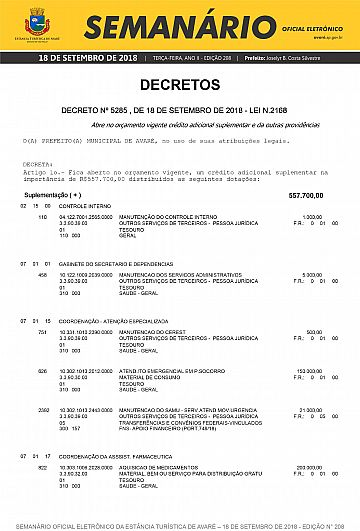 Semanário Oficial - Ed. 208