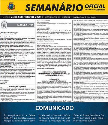 Semanário Oficial - Ed. 981