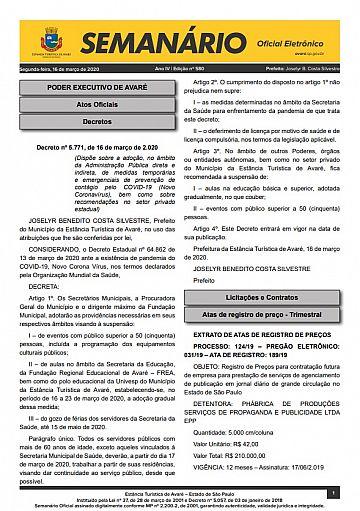 Semanário Oficial - Ed. 580