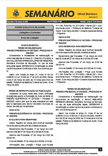 Semanário Oficial - Ed. 581