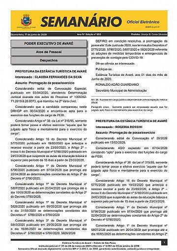 Semanário Oficial - Ed. 653