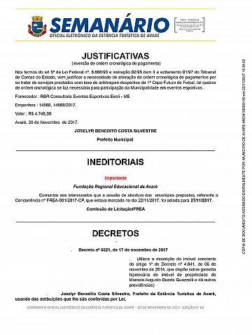 Semanário Oficial - Ed. 62