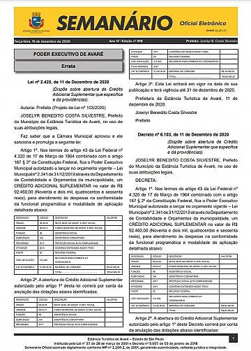 Semanário Oficial - Ed. 818