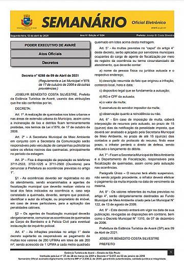 Semanário Oficial - Ed. 924