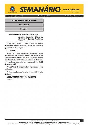 Semanário Oficial - Ed. 698