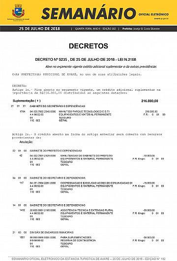 Semanário Oficial - Ed. 182