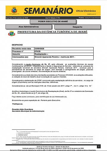 Semanário Oficial - Ed. 772