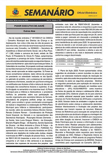 Semanário Oficial - Ed. 573
