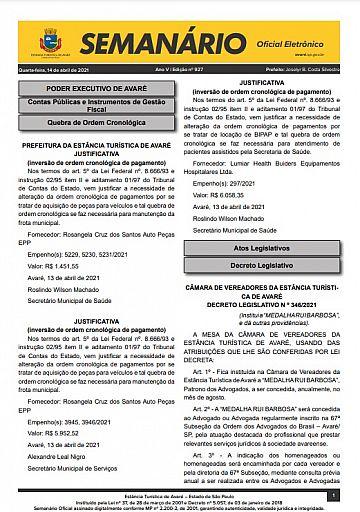 Semanário Oficial - Ed. 927