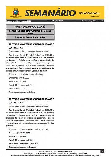 Semanário Oficial - Ed. 568