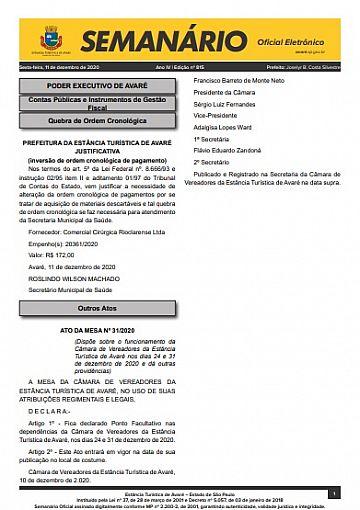Semanário Oficial - Ed. 815