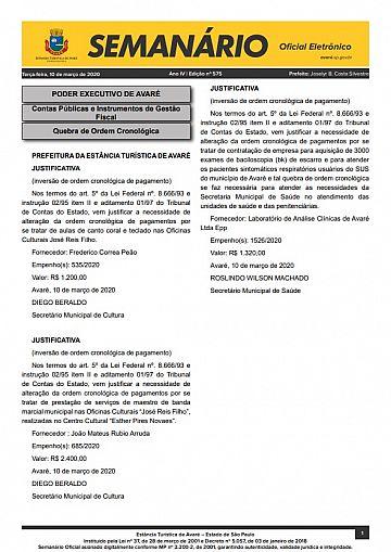 Semanário Oficial - Ed. 575