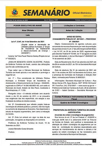 Semanário Oficial - Ed. 1071
