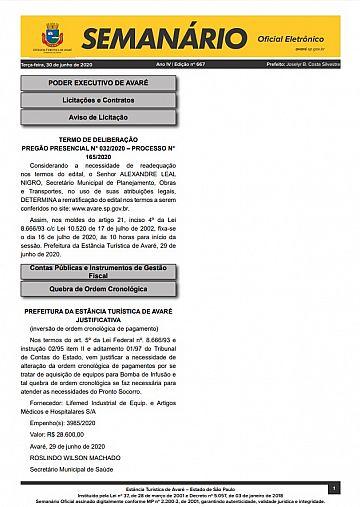 Semanário Oficial - Ed. 667