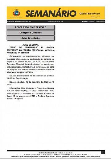 Semanário Oficial - Ed. 744