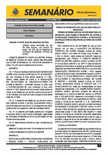 Semanário Oficial - Ed. 544