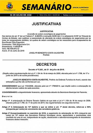 Semanário Oficial - Ed. 184